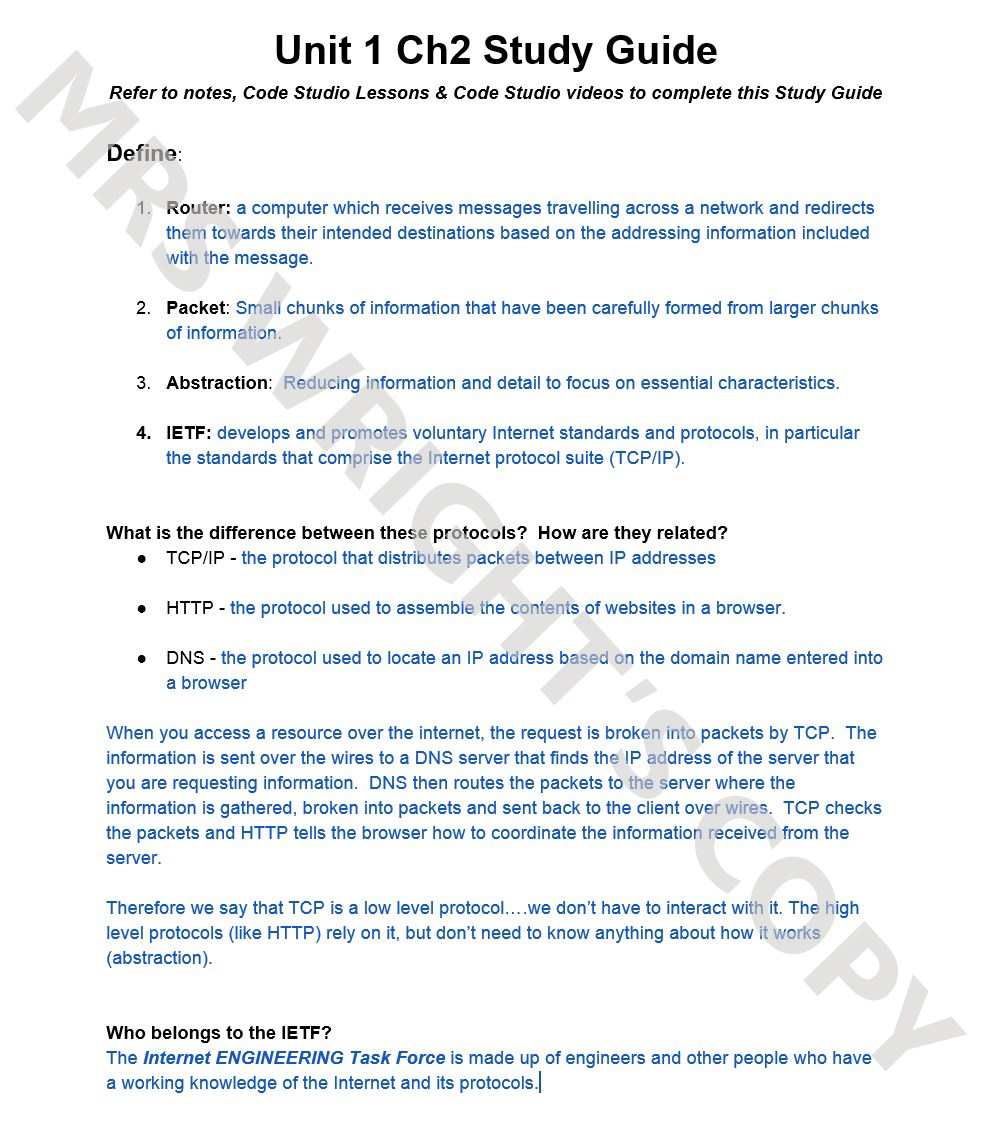 unit 1 ch 2 study guide solution page 1jpg