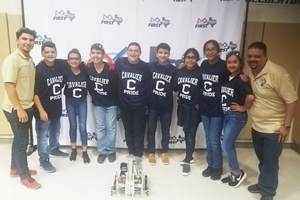 "RCJH CyberCavs BELL team members are: Joaquin Alvarez (8th), Nyleen Canizalez (8th), Alberto Montes (8th), Kayla Del Angel (8th), Gabriel Salinas (7th), Ian Mata Arteaga (7th), Julie Rodriguez (7th) and Arely Espinoza (7th) along with their coaches Daniel ""Danny"" Reyna and Manuel ""Marc"" Villarreal."