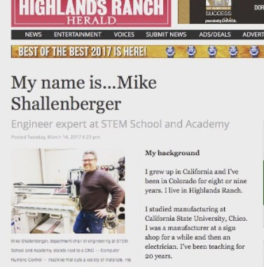 Teacher Mike Shallenberger featured in Highlands Ranch Herald