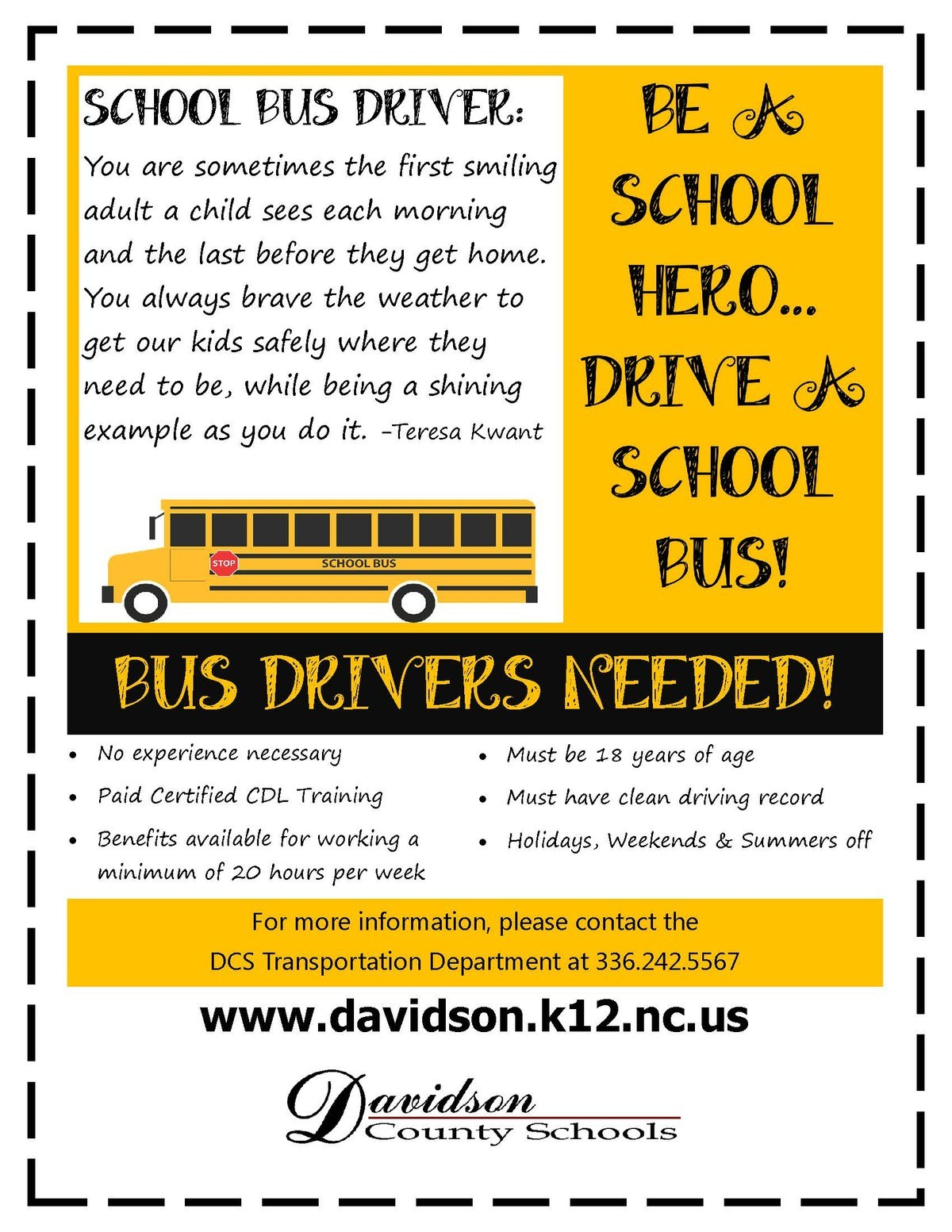 Image of Bus Drivers Needed Sign