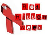 a red ribbon and in block letters the words Red Ribbon Week,