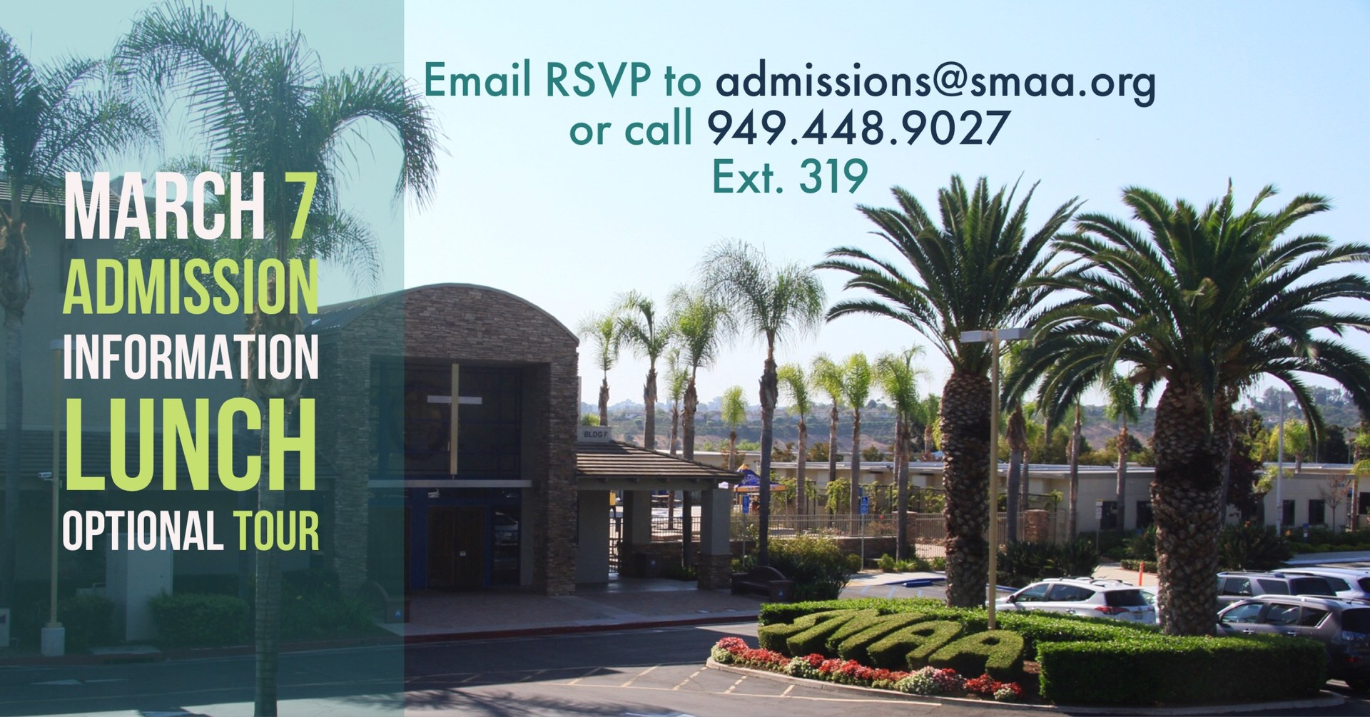 Admission Information Lunch with photo of school and rsvp
