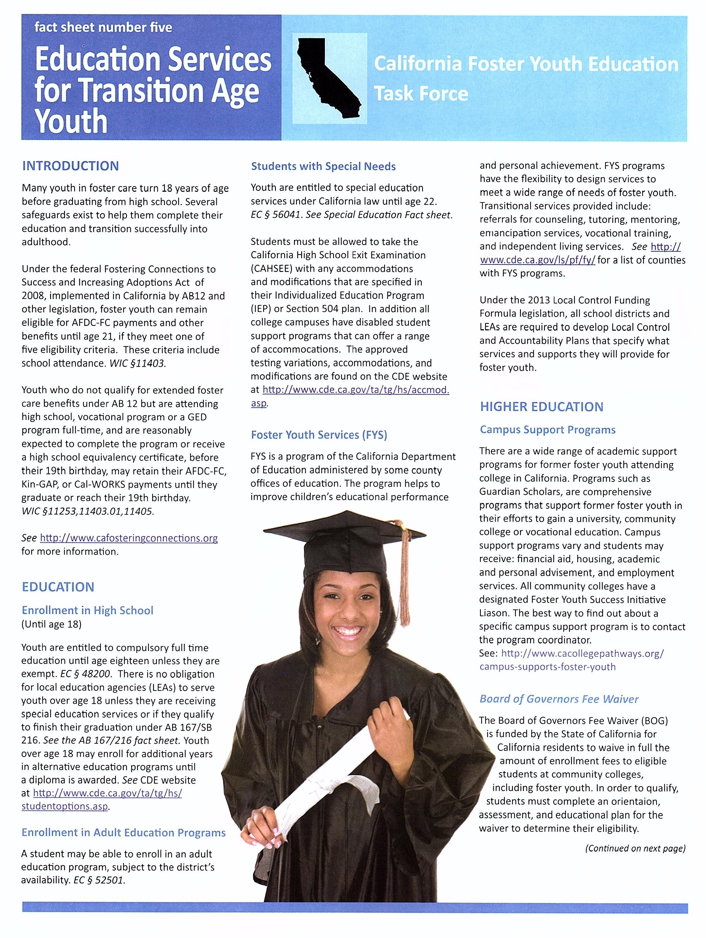 Fact sheet for Educational Services for Transition Age Youth