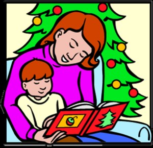 Clip art of Mom reading to child by a Christmas Tree