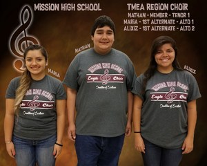 Pictured are TMEA Region Choir members Maria Pruneda, Nathan Cavazos, and Alixiz Garza.