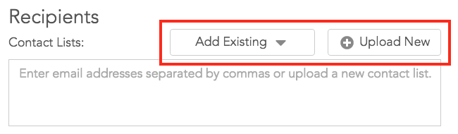 Buttons to upload new list or add existin list