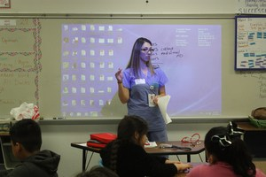 Dr. Saenz presenting on Career Day