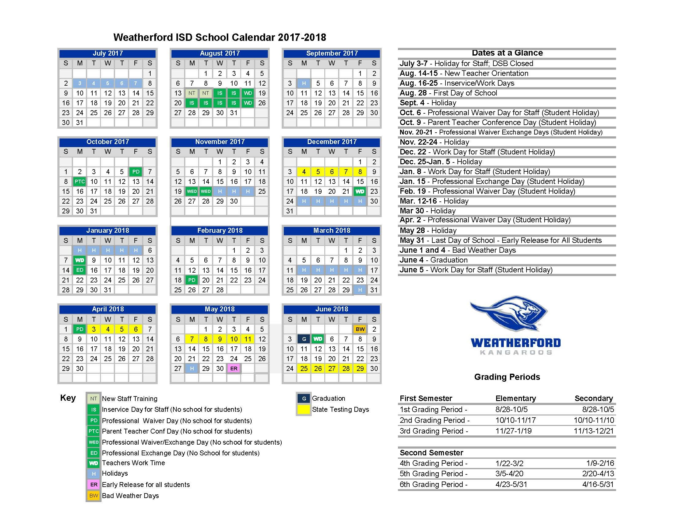 Vietnam School Year Calendar : Home calendars weatherford independent school district
