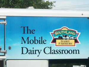 The Mobile Dairy Classroom logo on the trailer.