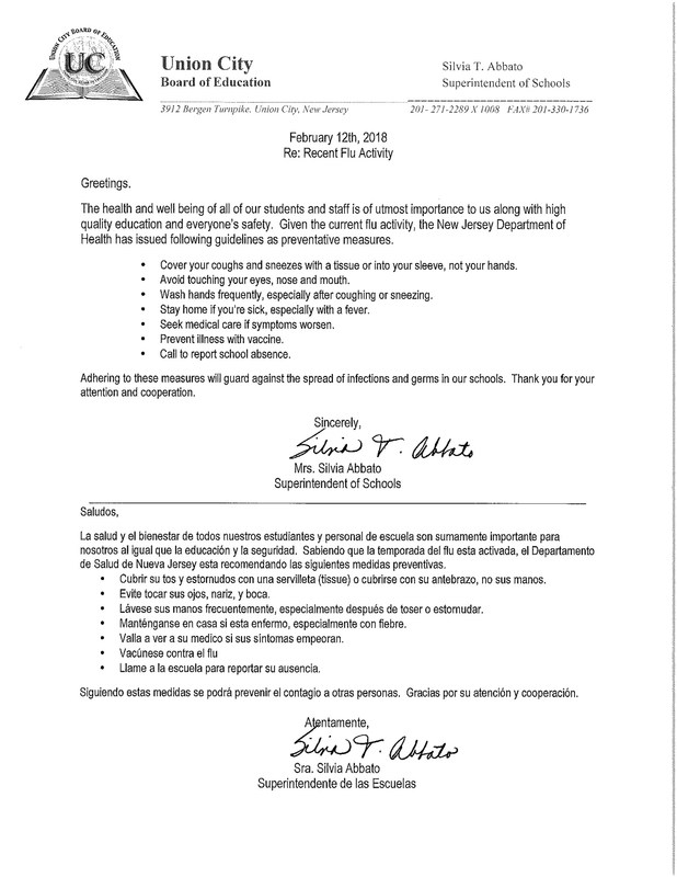 Letter from the superintendent about the flu activity