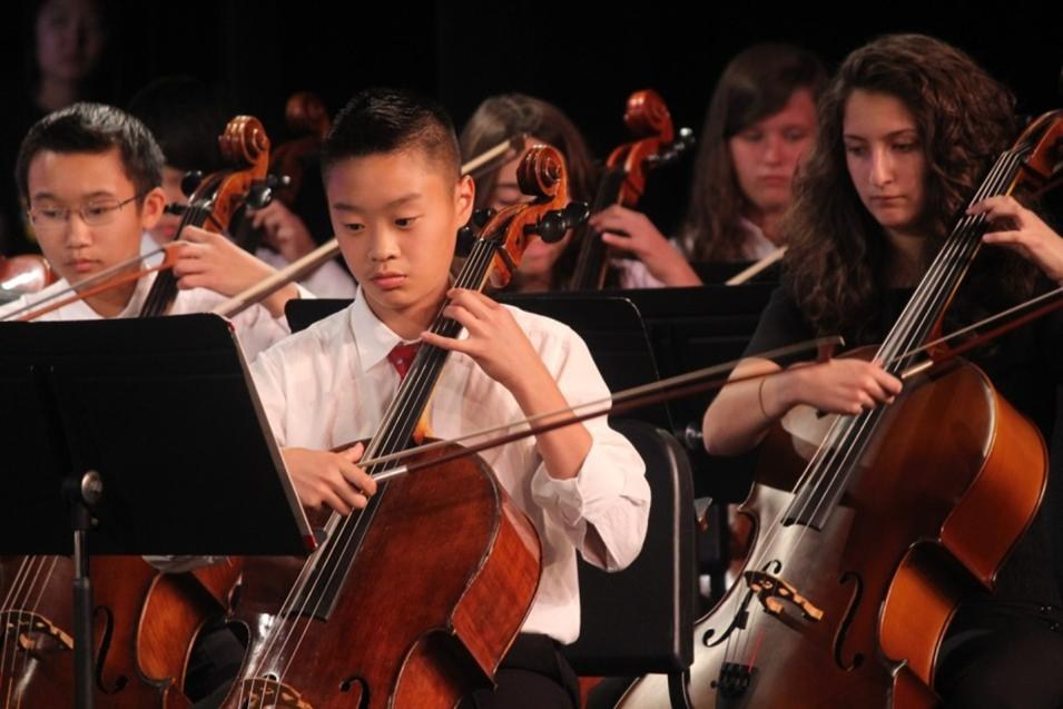 Orchestra students at a concert