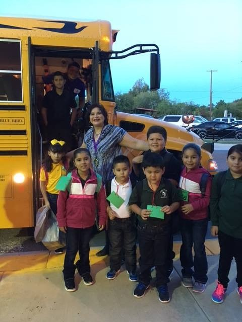Mrs. Molina with students on first day of school.