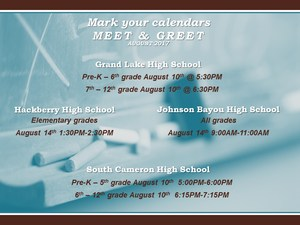 Flyer with meet and greet dates
