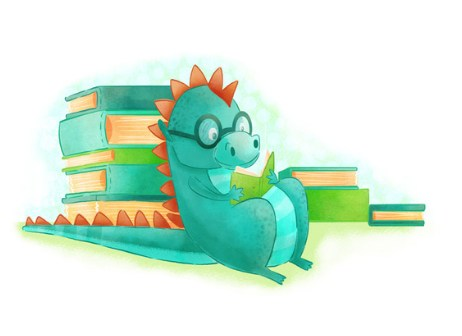 Dragon reading a book