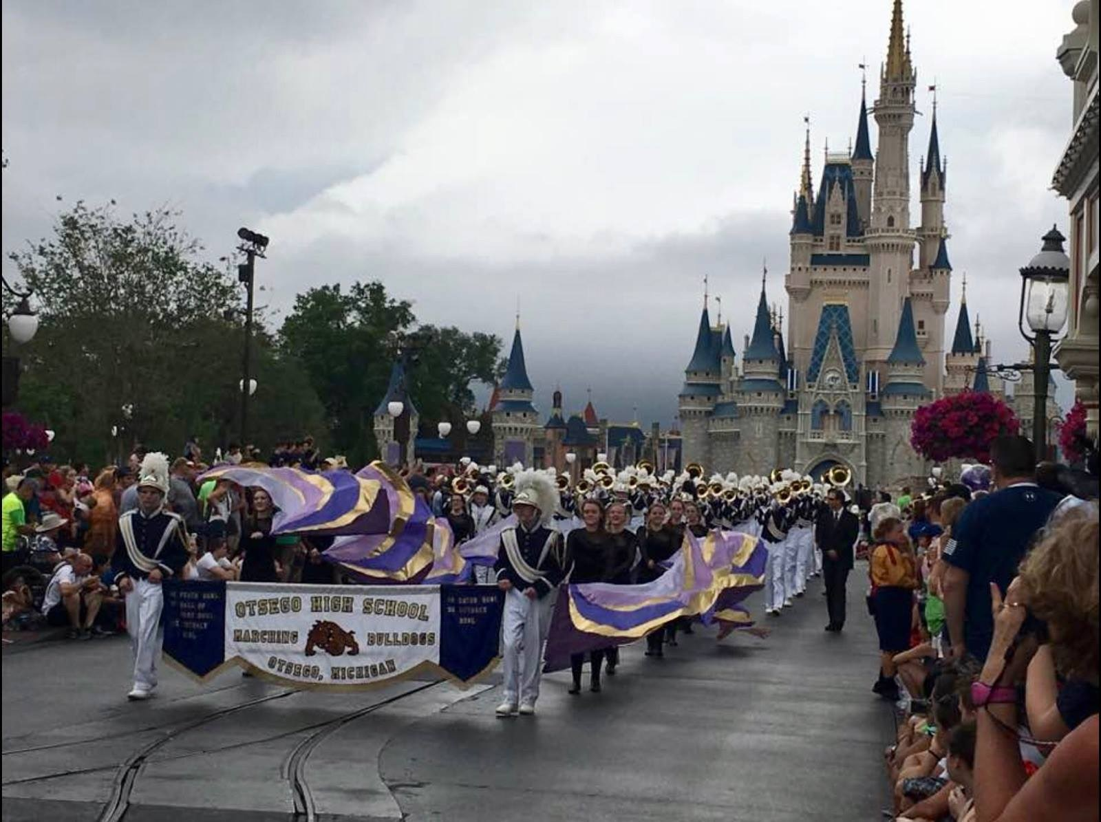 The OHS Marching Band performing in the parade at Disney World's Magic Kingdom.