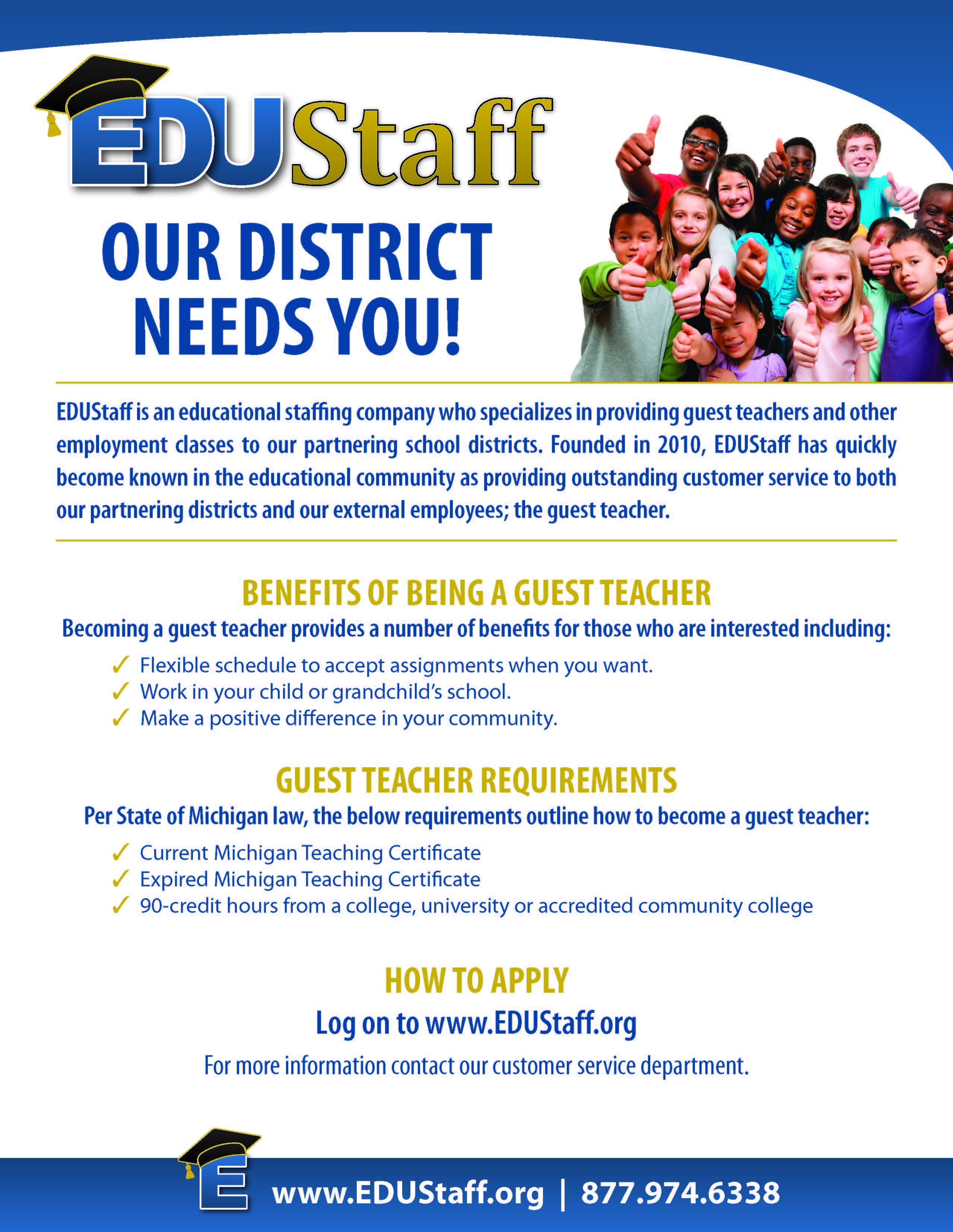 thornapple kellogg school district the flyer contains information about how to become a substitute teacher