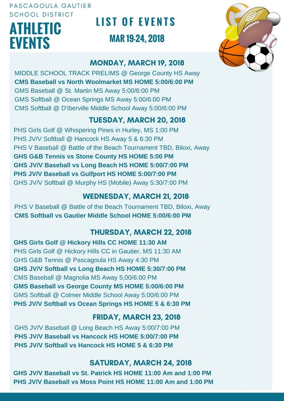 Athletic Events for Week of March 19-24, 2018