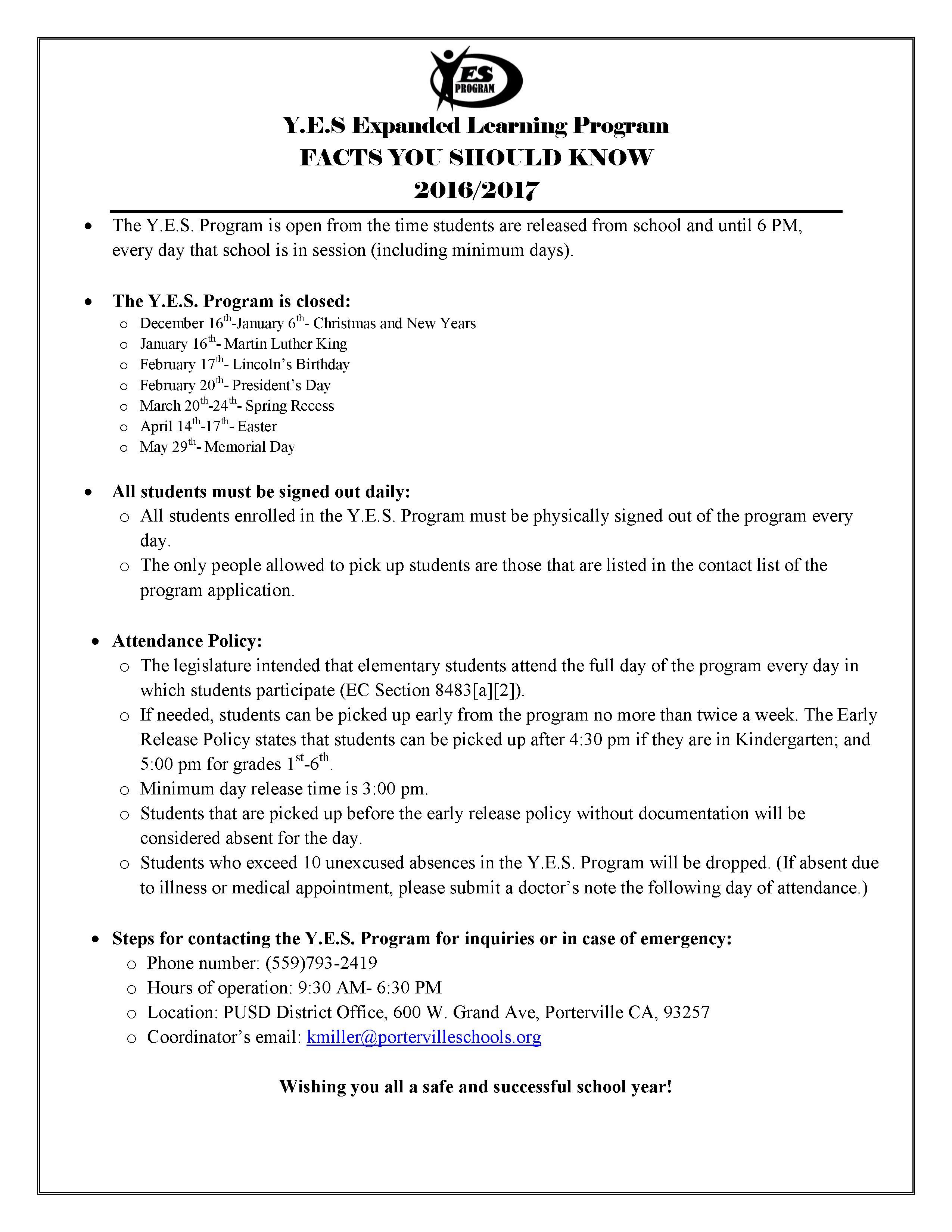 YES Program Facts (English)