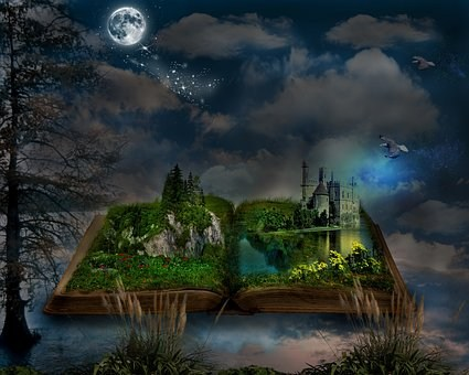 Open Book with Fantasy Scene