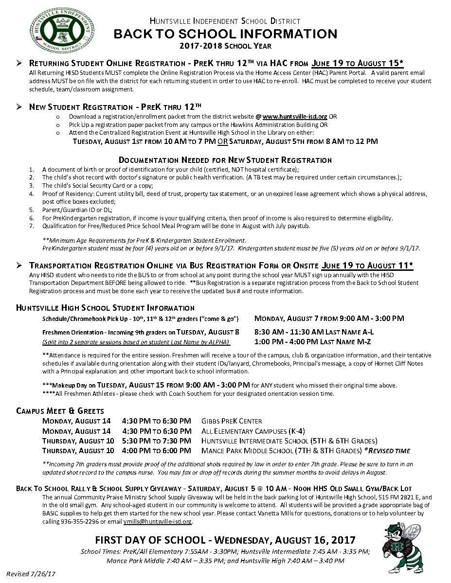 Enrollment – Enrollment – Huntsville ISD