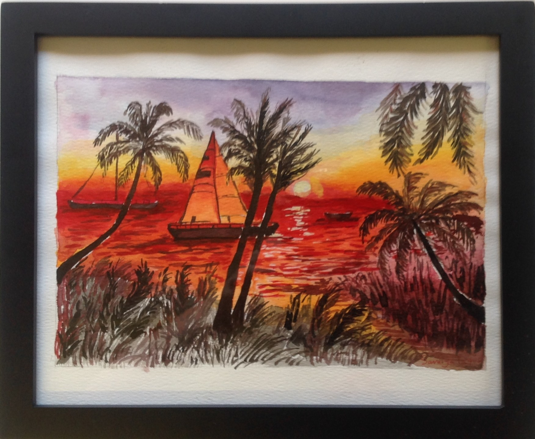 Watercolor painting of beach and palm trees