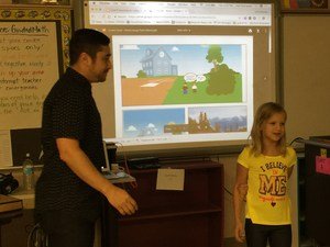 Image: Student presenting a comic strip she created