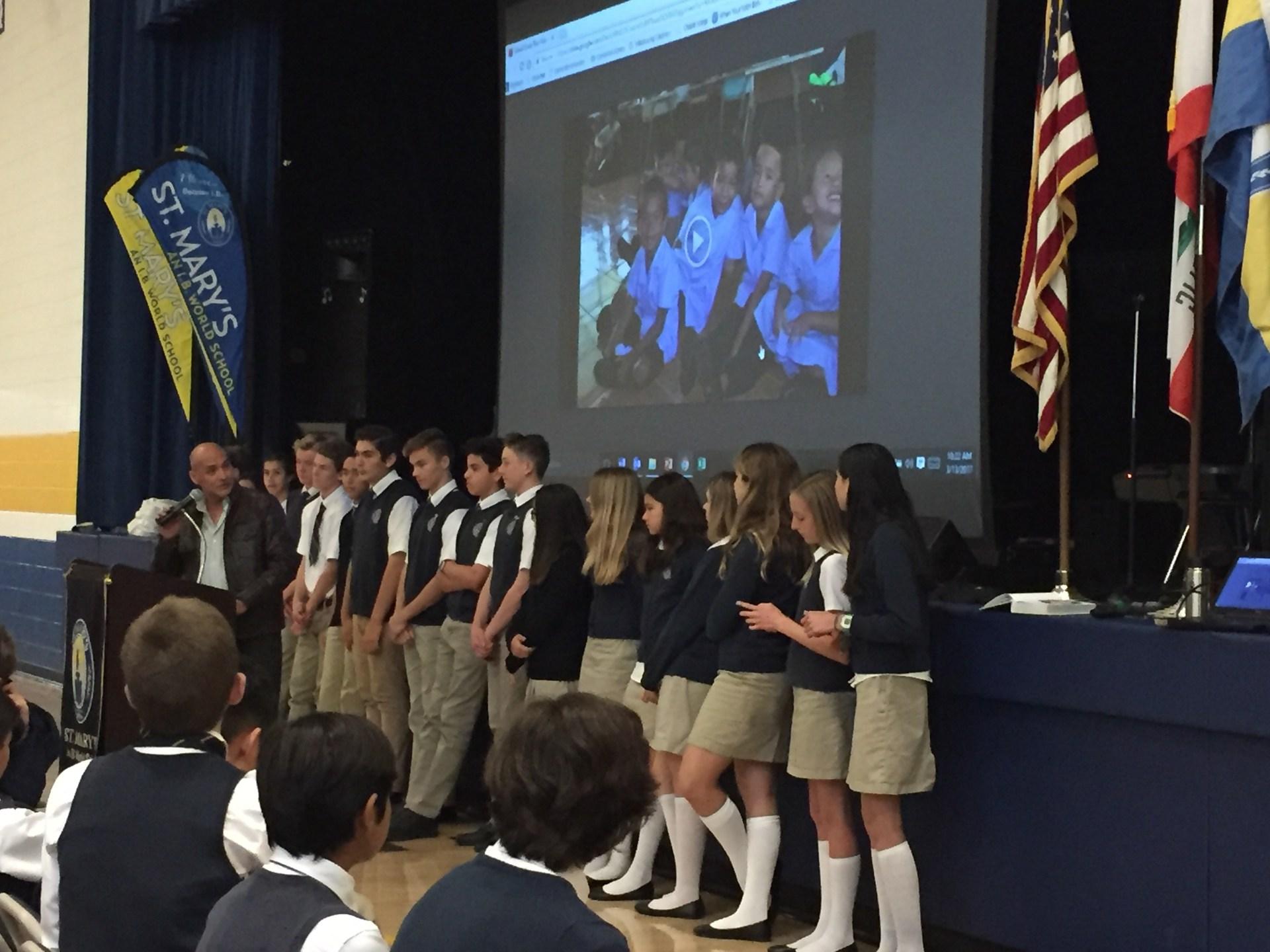 students presenting at Chapel