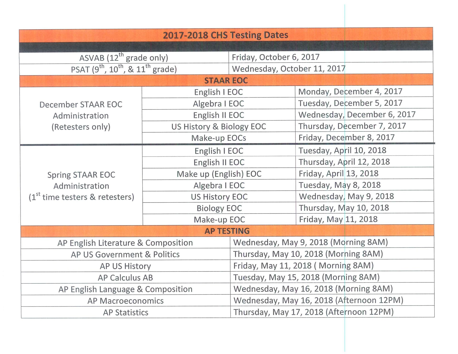 State Testing Calendar
