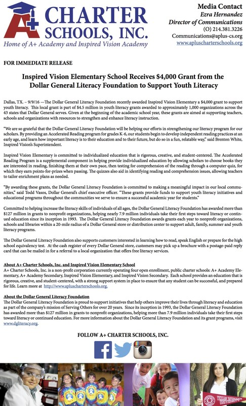 For Immediate Release: Inspired Vision Elementary School Receives $4,000 Grant from Dollar General Literacy Foundation Thumbnail Image