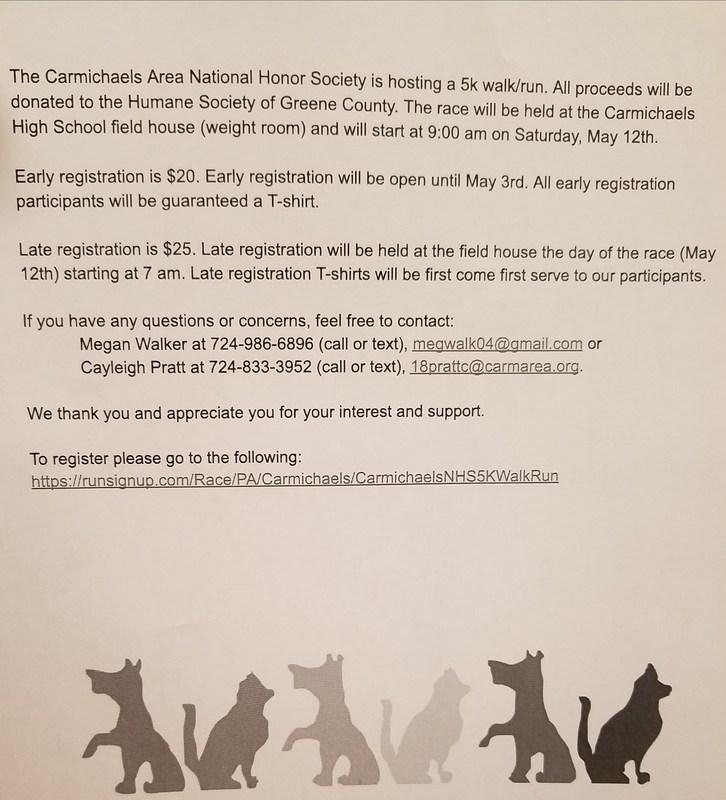 NHS to Host 5K Walk/Run Benefiting the Humane Society of Greene County Thumbnail Image