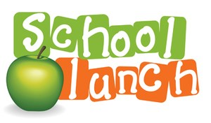 clip art with the words school lunch and an apple