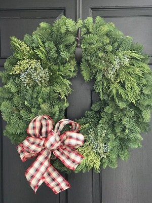 Christmas wreath decorated by PCS students