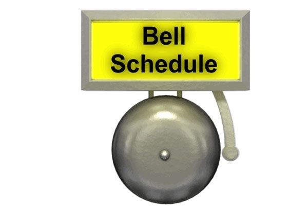 Image that says bell schedule