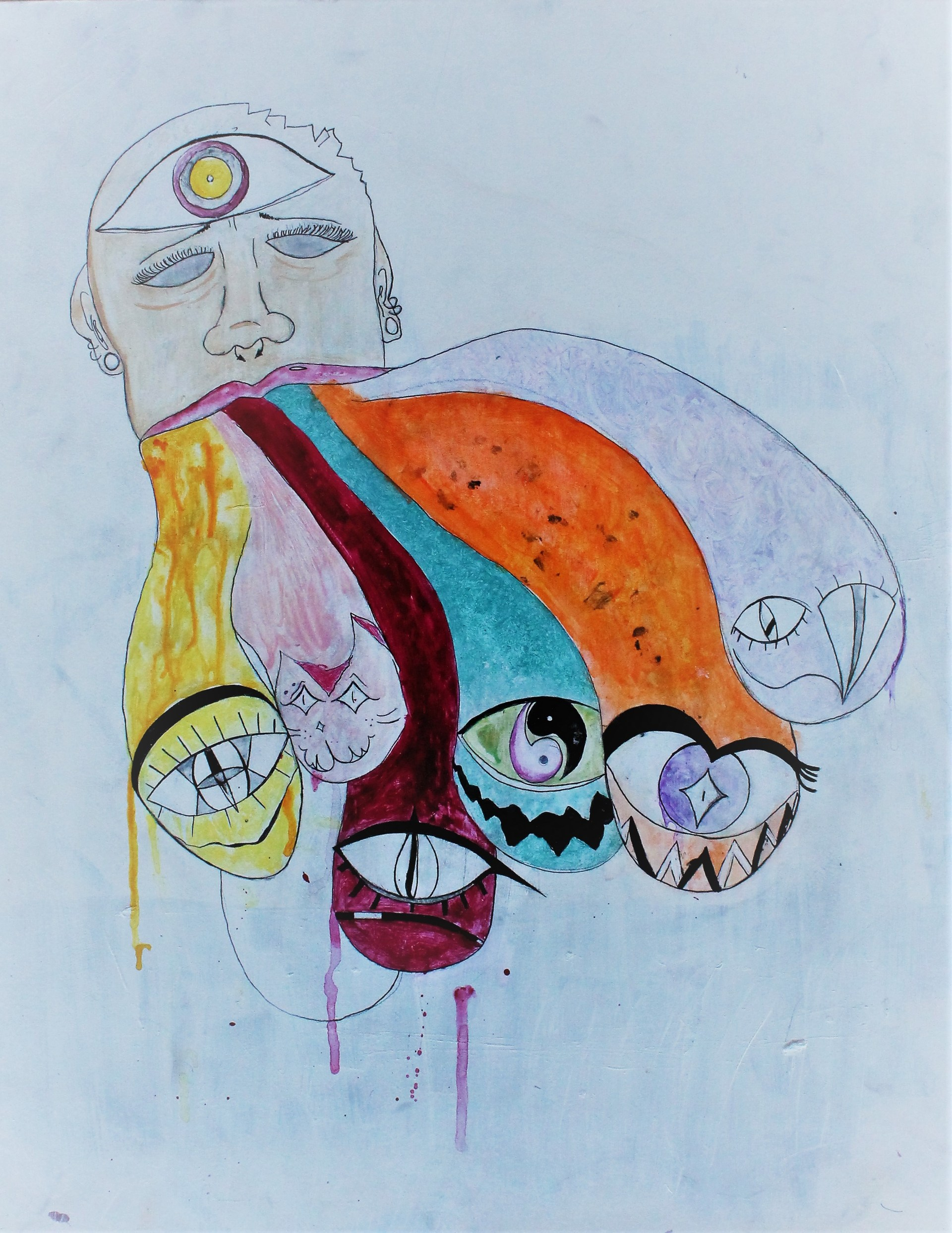 Student Artwork-Painting of colorful monsters dripping out of a person's mouth