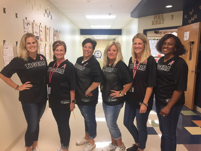 Charles Evans Teachers in Game Day shirts