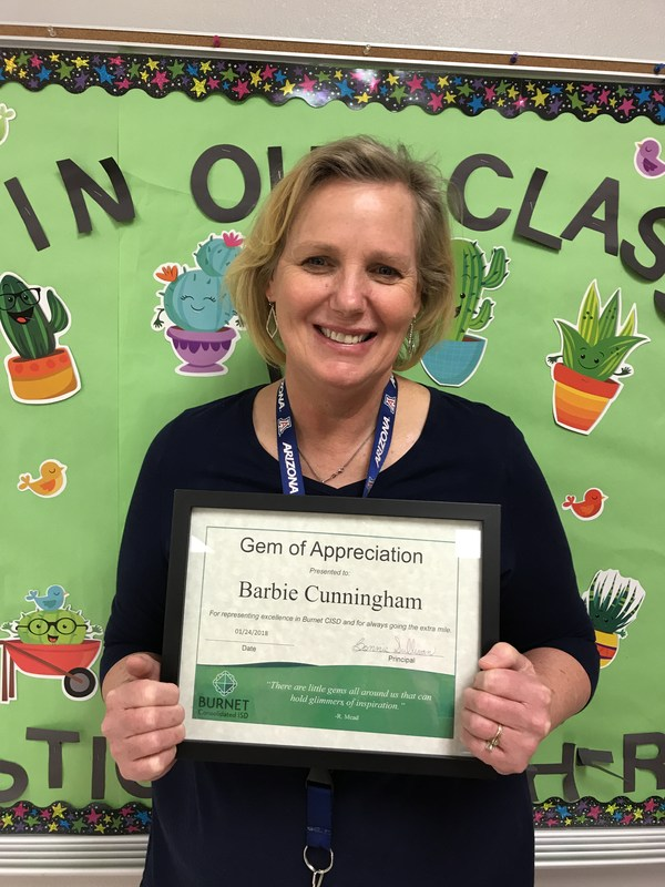 Mrs. Cunningham - January GEM of Appreciation! Thumbnail Image
