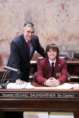 Gonzaga Prep Student Serves as Page for Sen. Baumgartner