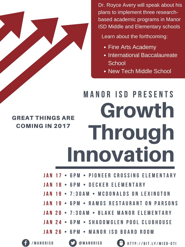 Growth Through Innovation tour to provide information on New Tech Middle School, International Baccalaureate program, Fine Arts academy Thumbnail Image