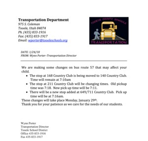 Bus route changes for Bus route 57.