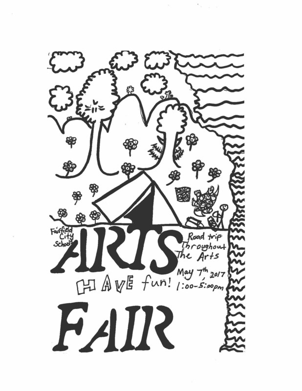 Image by Nathan Prince of drawing for Arts Fair flyers and posters