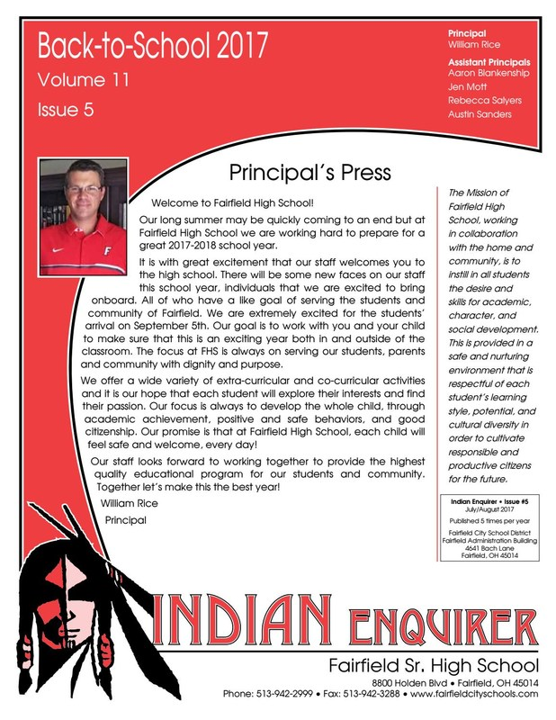 Image of the front page of the Indian Enquirer newsletter for Fairfield High School