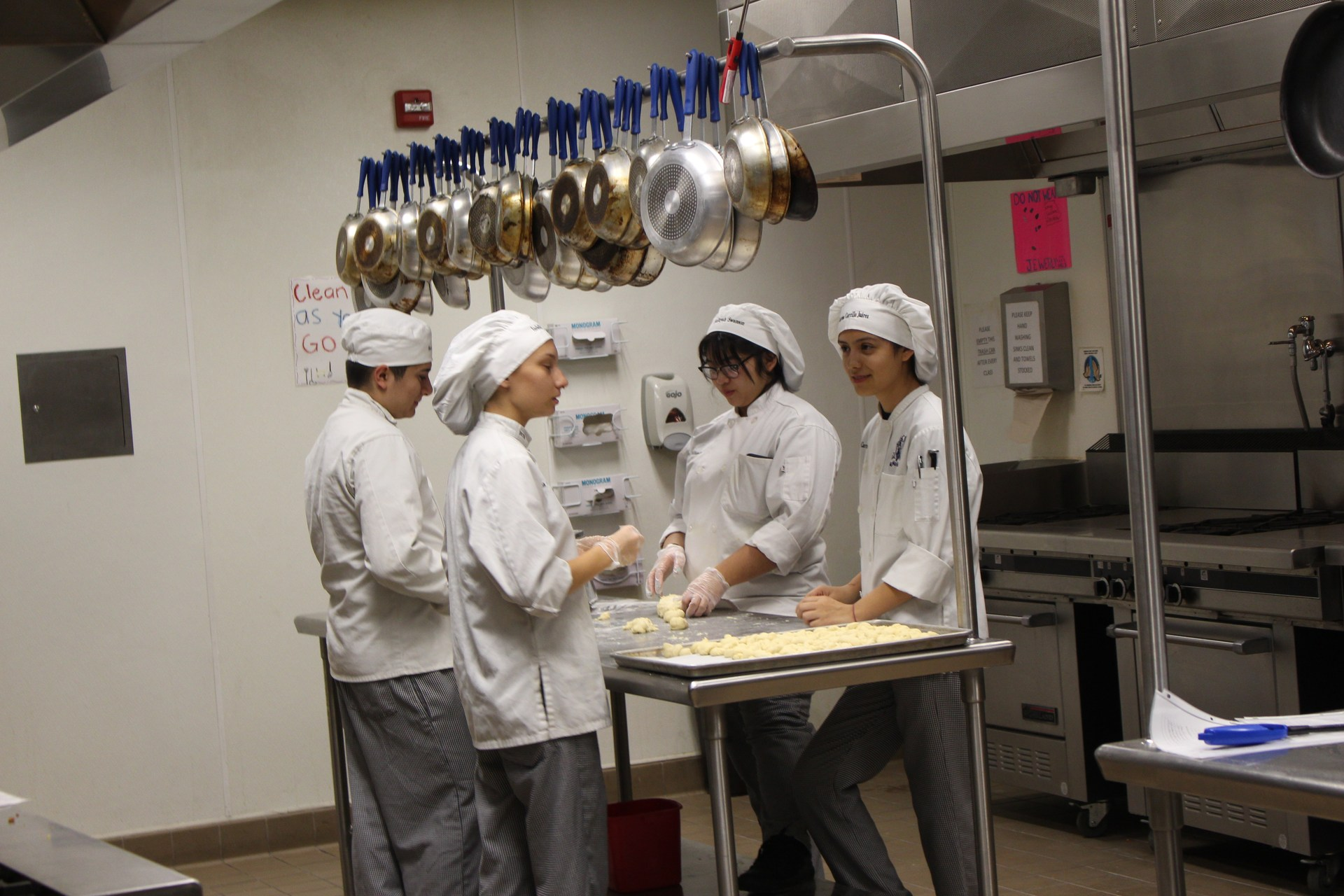 Students working in the kitchen