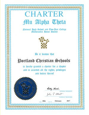 Math Honor Society Certificate