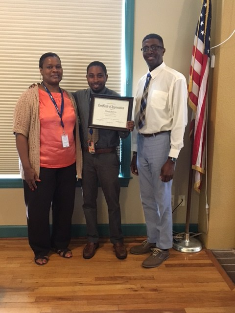 Classified Employee of the Month~Mr. Altonio Duncan (middle)