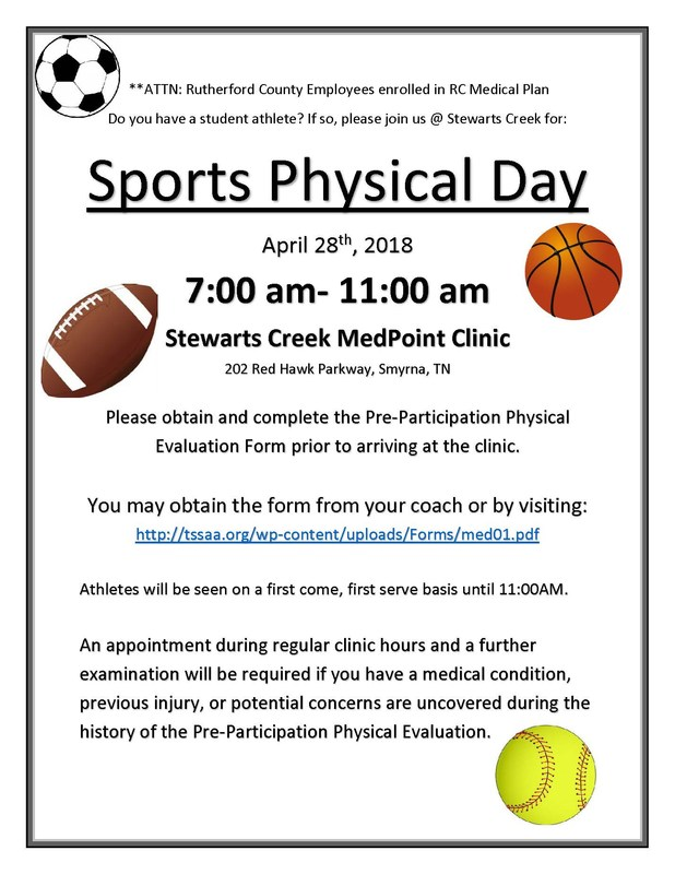 sport physical day april 28th 7-11