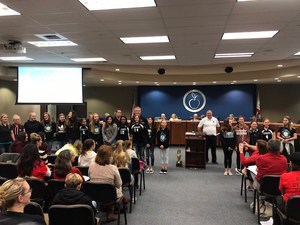 Dartmouth Girls Volleyball Team at District Board Meeting - January 9, 2018