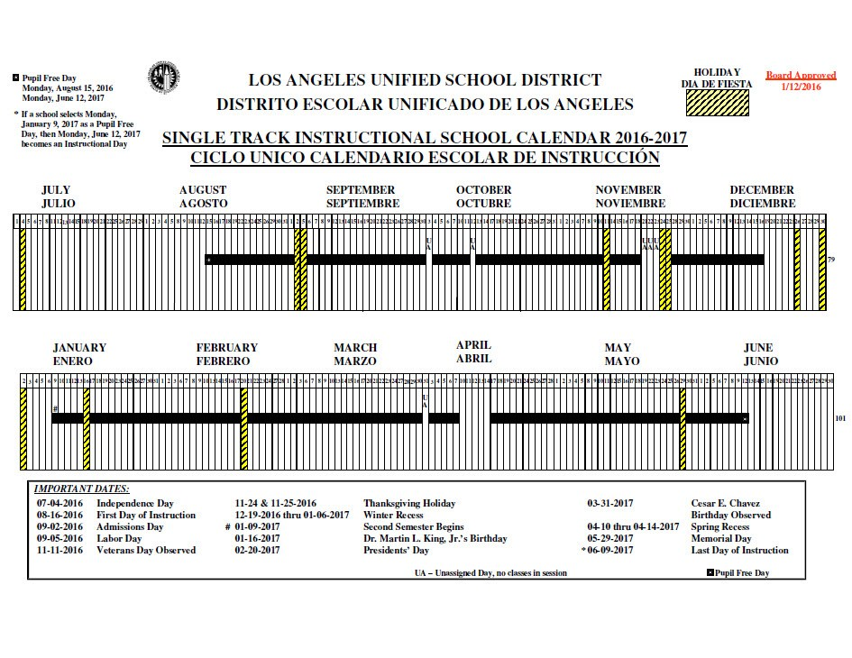 Lausd 2017 To 2016 Calendar   Calendar 2017