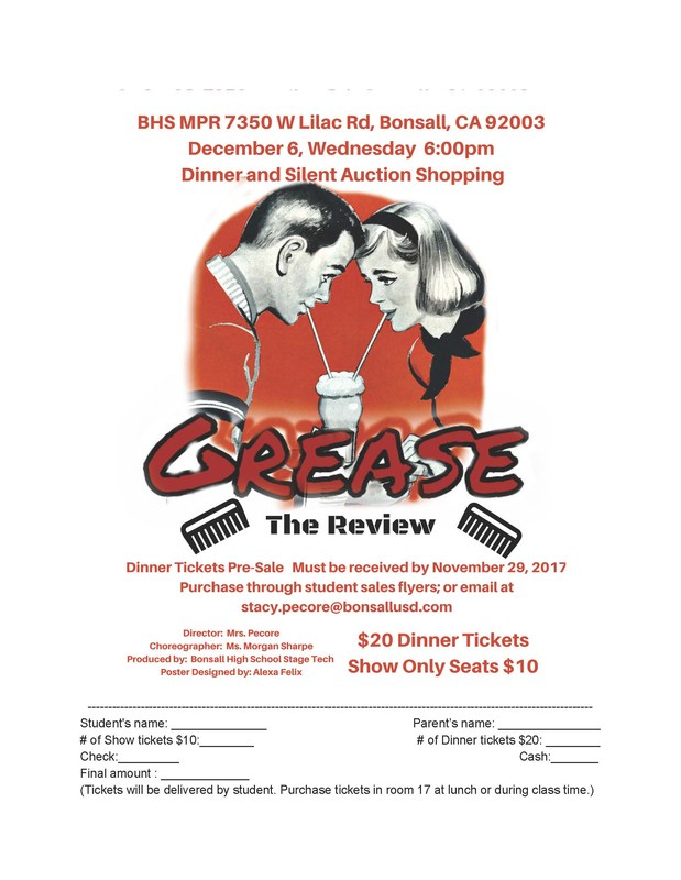 Grease Show and Dinner flyer