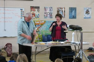 Author Ruth McNally Barshaw and her husband visit with students for reading month.