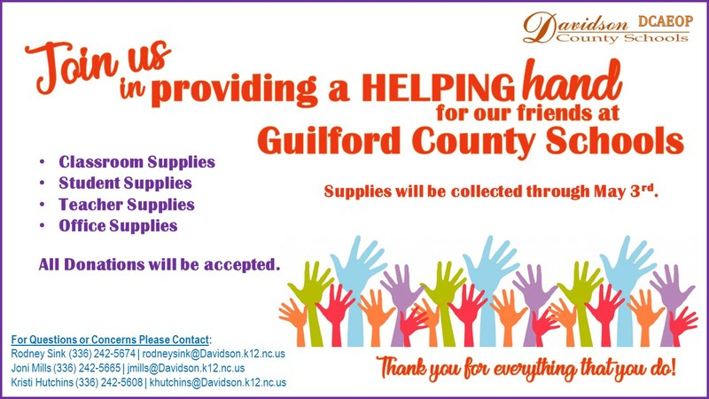 OGMS will be collecting supplies for Guilford County Schools through May 3rd.
